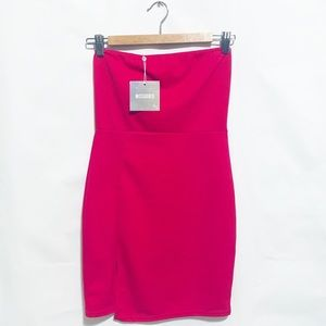 NWT Missguided Hot Pink Bodycon Dress With Slit